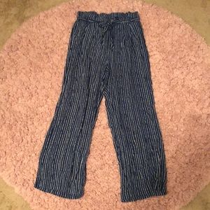 navy blue and white striped flowy work pants
